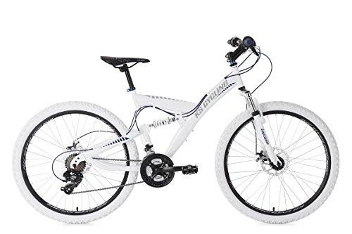 """KS Cycling Erwachsene Mountainbike MTB Fully 26\"""" Topspin weiß-blau Fahrrad,"""