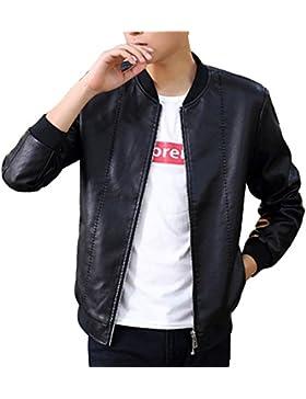 Slim Fit Outwear Abrigo de Manga larga / Cuero de la PU / Capucha para Hombre XXL Negro