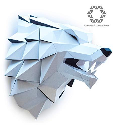 Wolf Papierskulptur PAPERCRAFT Komplett-Set NEUE MODERN 3D PUZZLE Trophäe Papier Skulptur zum Zusammenbauen für die Wanddekoration DIY Low Poly Montage ORIGADREAM