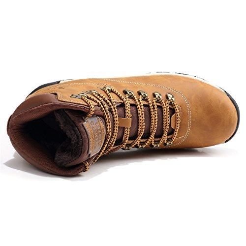 Sixspace Herren Schneestiefel Winterstiefel Warm Gefütterte Winterschuhe Stiefelette Outdoor Boots Kamel