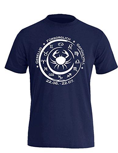 Sternzeichen Krebs - Astrologie - Herren Rundhals T-Shirt Navy/Weiss