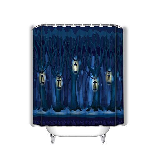 suzhoudoushioumiyafushi Shower Curtain – Kid Safe - Non Toxic and No Odors – Eco Friendly Heavy Duty Peva - Naturally Mold 60x72 INCH Cartoon Forest Dark Night Panorama Parallax d Arcade (60 Einem In Arcade)