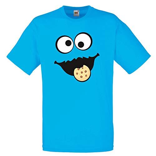 Shirt-Panda Herren Unisex T-Shirt Keksmonster Krümelmonster Gruppen Kostüm Karneval Fasching Verkleidung Party JGA Azur Blue 2XL
