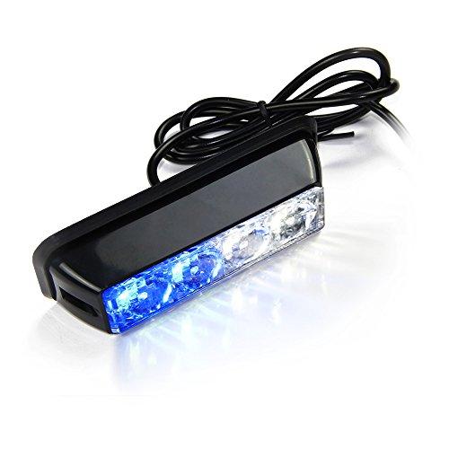 Xtreme® weiß & blau 4LED 4Watt Einsatzfahrzeug Wasserfeste Oberfläche Mount Deck Dash Gitter Stroboskop ACHTUNG Polizei Light Head mit Clear Lens (Dash Emergency Lights)