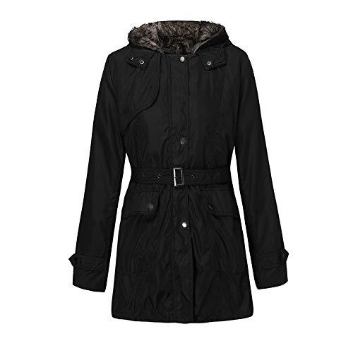 BOLANQ Plüschmantel Mantel, Frauen-mit Kapuze Strickjacke-Mantel-Winter-Warmer Wolle-Reißverschluss-Mantel-Baumwollmantel Outwear(Medium,Schwarz) -