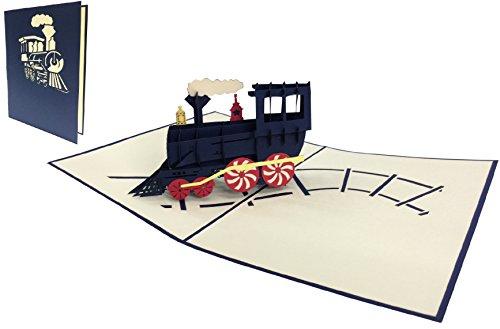 Pop Up Karte Geburtstagskarte, Grußkarte Lokomotive, Glückwunschkarten Eisenbahn, Reise Gutschein, Dampflokomotive (große Karten 15 x 20 cm) (Nr.228)