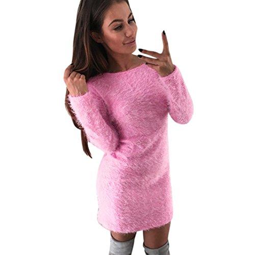 Elecenty Damen Winter Kleider Frauen Langarm Rundhals Sweatshirt Langarmkleid Solide Langarm Tops Knielang Minikleid Kleid Hemdkleid Abendkleider Partykleid (XL, Rosa) (Pullover Knie Länge)