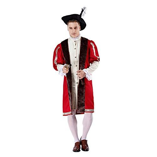FGDJTYYJ Cosplay Erwachsene Halloween Alten Römischen Mittelalterlichen König Flayer Stierkämpfer Prince Performing Kostüm (Hut + Jacke + Langes Hemd + - Geburtstag Jacke Und Hut Kostüm