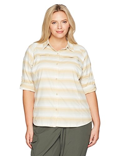 Columbia Women's Plus Size Silver Ridge Plaid Long Sleeve Shirt Fossil Ombre Stripe