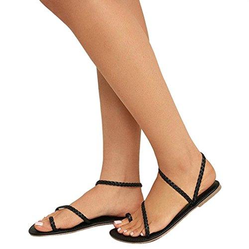 Reaso Femmes Sandales de Plage Chaussures Peep-Toe Été Chaussures Plates Strappy Gladiateur Faible Talon Plat Tongs Sandales de Plage Chaussures Flip Flops Romaines Tongs Grande Taille