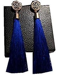 Ginie'sWishKart EARRING Long Fringed Charm Diamond Rose Flower Tassel Earrings In Blue Color
