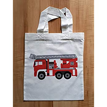 Tragetasche (klein) mit Feuerwehrauto – Stoffbeutel – Einkaufstasche – Kindertasche – Jungsgeschenk – Beutelchen – Einkaufsbeutel