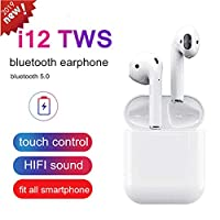 ‏‪i12 TWS Bluetooth 5.0 Earphone Wireless Touch Earbuds Sweatproof headset 3D Stereo‬‏