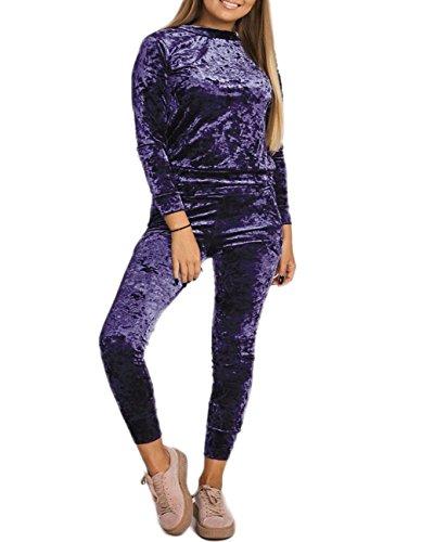 GirlzWalk  Damen Velour Velvet Jogger Lounge Zwei Stücke Set Sportswear Trainingsanzug (Marine, SM...