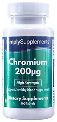 SimplySupplements Chromium 200mcg|For Normal Blood Sugar Levels|360 Tablets by Simply Supplements