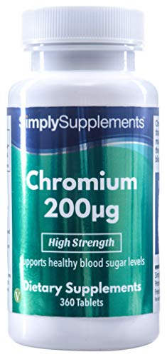 Chrom 200µg - 360 Tabletten - Versorgung für 1 Jahr - Aufrechterhaltung des normalen Blutzuckerspiegels - Simply Supplements