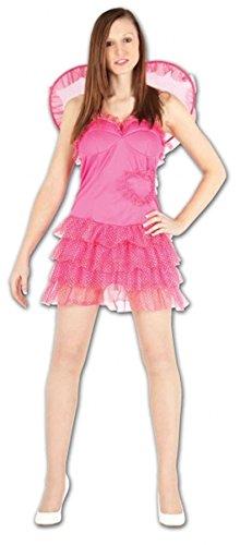Fee Kostüm Womens Rosa - Islander Fashions Frauen rosa Fee Sparkly Cupid Kost�m f�r Erwachsene Damen Phantasie FL�Gel mit Kleid Einheitsgr��e (Fits EU 36-42)