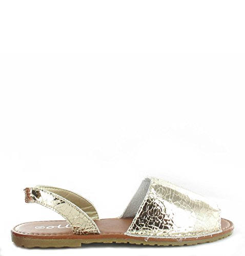De Sapatos Para Elástico Crackle Sandália Senhoras Minorca Praia Verão Ouro De Aanw1R