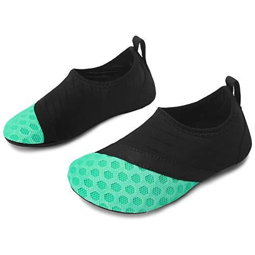 JOINFREE Jungen schwarz grün Wasser Schuhe Strand Sportschuhe Aqua Socken Schuhe, 18-19 EU