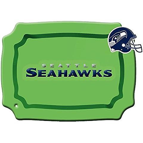 Seattle Seahawks, in vetro dipinto a mano, Piatto da portata rettangolare, con Charm a forma di cuore
