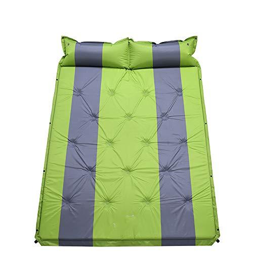 LXMBox Selbstaufblasende Schlafmatratze mit Kissen, Ultraleicht Camping Pad 3cm Dicke, feuchtigkeitsbeständige Matte zum Wandern, Rucksackreisen,Green (Camping-pad Dicke)