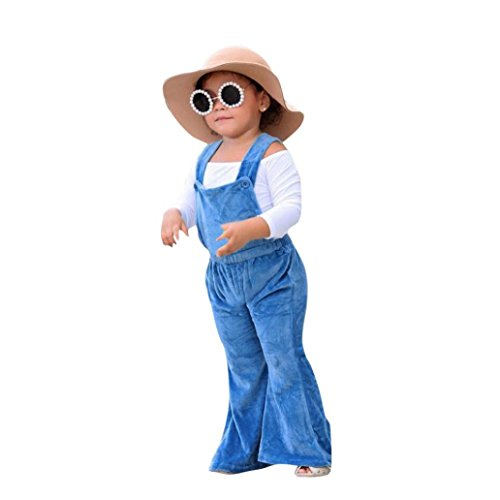 Clearance Sale!OverDose Toddler Kids Baby Girls Solid Overalls Strap Rompers Jumpsuit Outfits Clothes