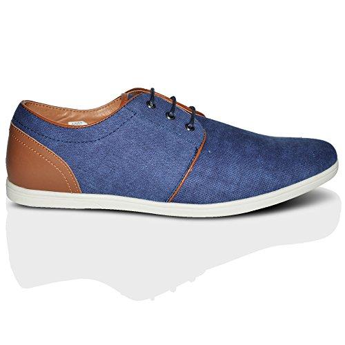 Sneaker Alla Moda Da Uomo Con Lacci Eleganti In Pelle Per Il Tempo Libero Di Alta Gamma Uk, Misura 6-11 Blu A 2 Colori