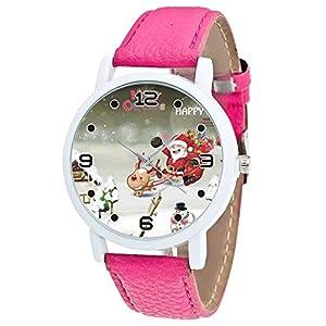 Weihnachtsuhr für Frauen LSAltd Vintage Lederband Analog Quarzuhr Vogue Weihnachten Weihnachtsmann Drucken Uhr Weihnachten Armbanduhren Geschenk
