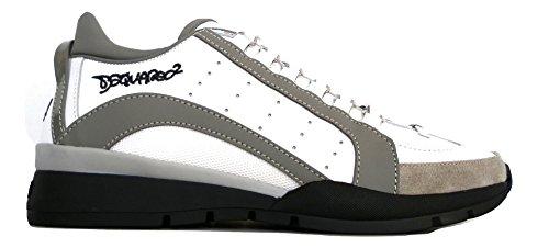 Dsquared Scarpe Pelle e Tessuto Uomo Sneaker W17SN404 1306 M182 Bianco Grigio (41.5 EU - 7.5 UK)