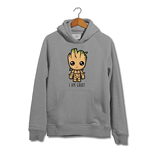 I Am Groot Cute Baby Groot Illustration Guardians Of The Galaxy 2 GOTG Inspired Grey Kids Hoodie (5-6 Years)