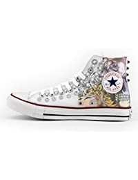 167d2aa33d01f Converse All Star personalisierte borchiate Silber – Schuhe Handgefertigt –  Druck Skull ...
