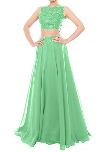 MACloth Women Two Piece High Neck Lace Chiffon Long Prom Dress Formal Party Gown Minze