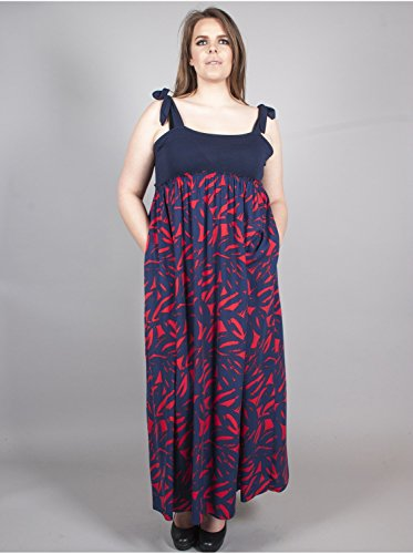 Vêtement Femme Grande Taille Robe Motifs Marine Rouge Multicolore