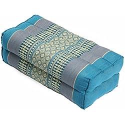 Cojín (35 x 15 x 10 cm, relleno de guata, cojín de apoyo para yoga y meditación), diseño tradicional tailandés, color azul
