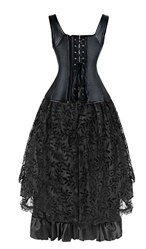Kimring Women's 2 Pcs Steampunk Gothic Underbust Corset & Lace Dancing Skirt Set Nero/Rosso