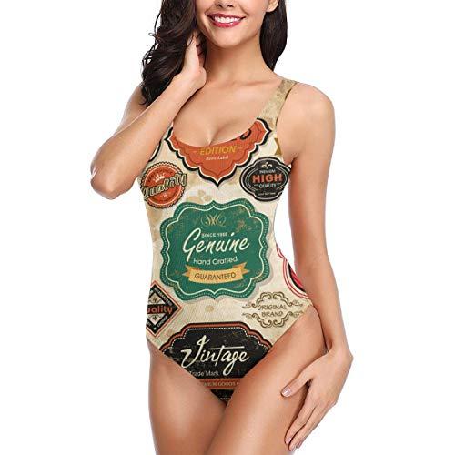 Retro-Grunge-Etiketten Abzeichen Und Symbole Frauen Badeanzug Verstellbarer Riemen Sexy Low Back Print Badeanzug Größe XL ()