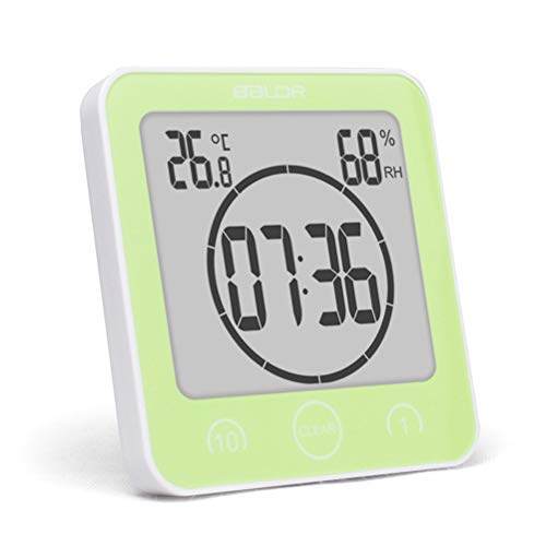 Ysoom Bad Wanduhr Dusche Uhr Wasserdicht mit LCD Display Luftfeuchtigkeit Temperatur, Countdown Timer, Berühren Tastensteuerung Wandbehang Freistehend (Light Green) - Dusche Uhr Lcd