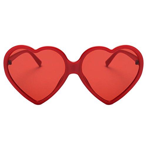 Makefortune Frauen Sonnenbrillen, Frauen Retro Fashion Heart-shaped Shades Damen Sonnenbrille Integrierte UV-Brille (Rot)