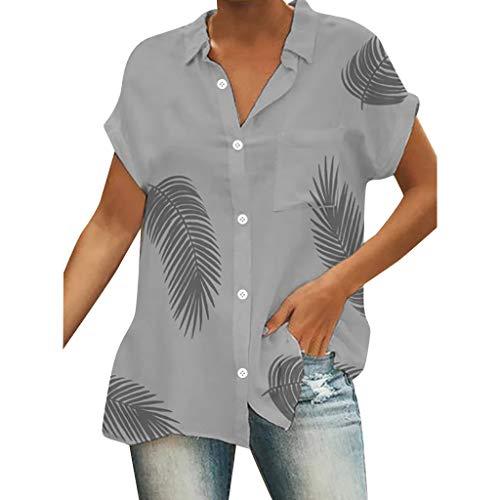 2019 Neu Damen Kurzarm Hemd Bluse Mode Blatt Drucken V Ausschnitt Frauen Casual Button Down Shirt Lose Oberteile Top von LEEDY