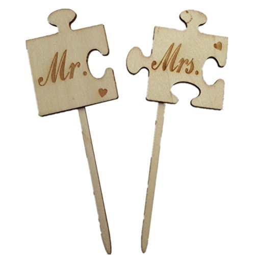 Topper Herr Frau Puzzle Form Holz Cake Topper klebt Hochzeitstorte Dekoration (Herr Und Frau Wedding Cake Topper)