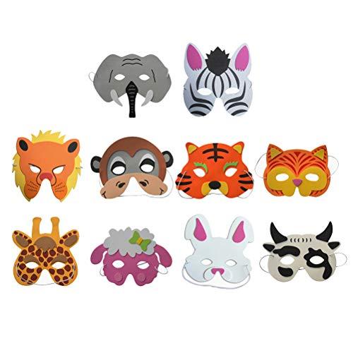 Amosfun 10pcs Máscara de Cara de Animal Máscara de EVA Creativa Linda Máscara de Dibujos Animados (Máscara de Tigre + Vaca + Elefante + Fox + Jirafa + Conejo + Oveja + Cebra + Mono + León)