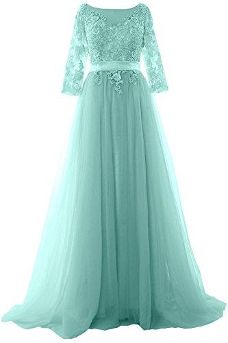 MACloth Elegant Half Sleeve Prom Dress Lace Tulle Maxi Evening Formal Gown Aqua