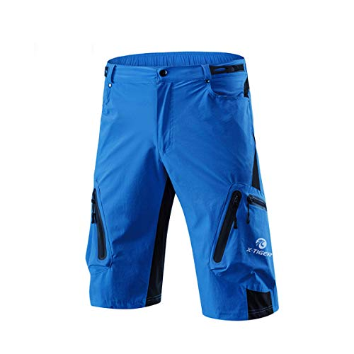 X-TIGER Men\'s Bicycle Shorts,Lightweight and Baggy Mountain Bike Shorts for Cycling Running Gym Training Shorts Pants for Off Road Cycling Outdoor Sports Leisure Bottoms (Blue, XL)