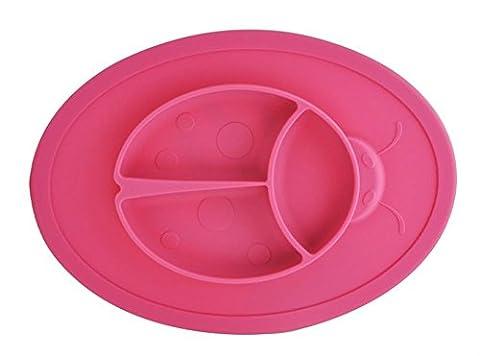 Bébé monobloc en silicone Set de table Chaise haute Gamelle haute Aspiration Beetle Set de table antidérapant pour table de salle à manger de cuisine, lave-vaisselle, passe au micro-ondes, sans BPA Approuvé par la FDA
