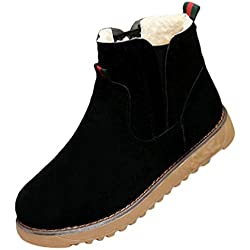 Dooxi Mujer Invierno Antideslizante Nieve Botas Casual Martin Botines Moda Calentar Forrado Zapatos Negro 38