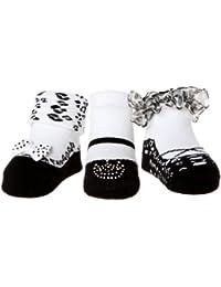 Baby- Emporio -3 Paar Baby Mädchen Socken ,die wie Schuhe aussehen -Baumwolle - Geschenk-Beutel-0-9 Monate