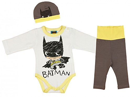 Jungen BABY-SET BATMAN 3-teilig, Baby-Body mit Hose und Mütze in GRÖSSE 56, 62, 68, 74, 80, 86, Spiel-Anzug mit Druck-Knöpfen, Schlaf-Anzug langarm, Geschenk für Neugeborene Color Grau, Size (Batman Kostüme Säuglings)