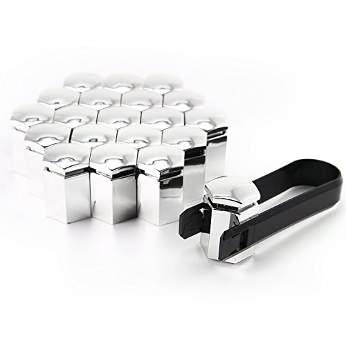 Lot de 20 protections de boulons de roue à tête hexagonale en plastique avec outil universel de retrait Chrome argenté/noir 17 mm x 31 mm
