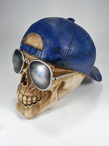 Schädel Basecap Kappe Sonnenbrille 19cm Totenkopf Gothic Figur Deko GPU SK223 A