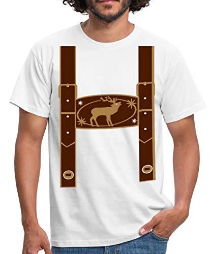 Spreadshirt Oktoberfest Falsche Lederhose Männer T-Shirt, XXL, -